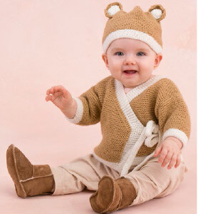 knit teddy baby sweater and hat