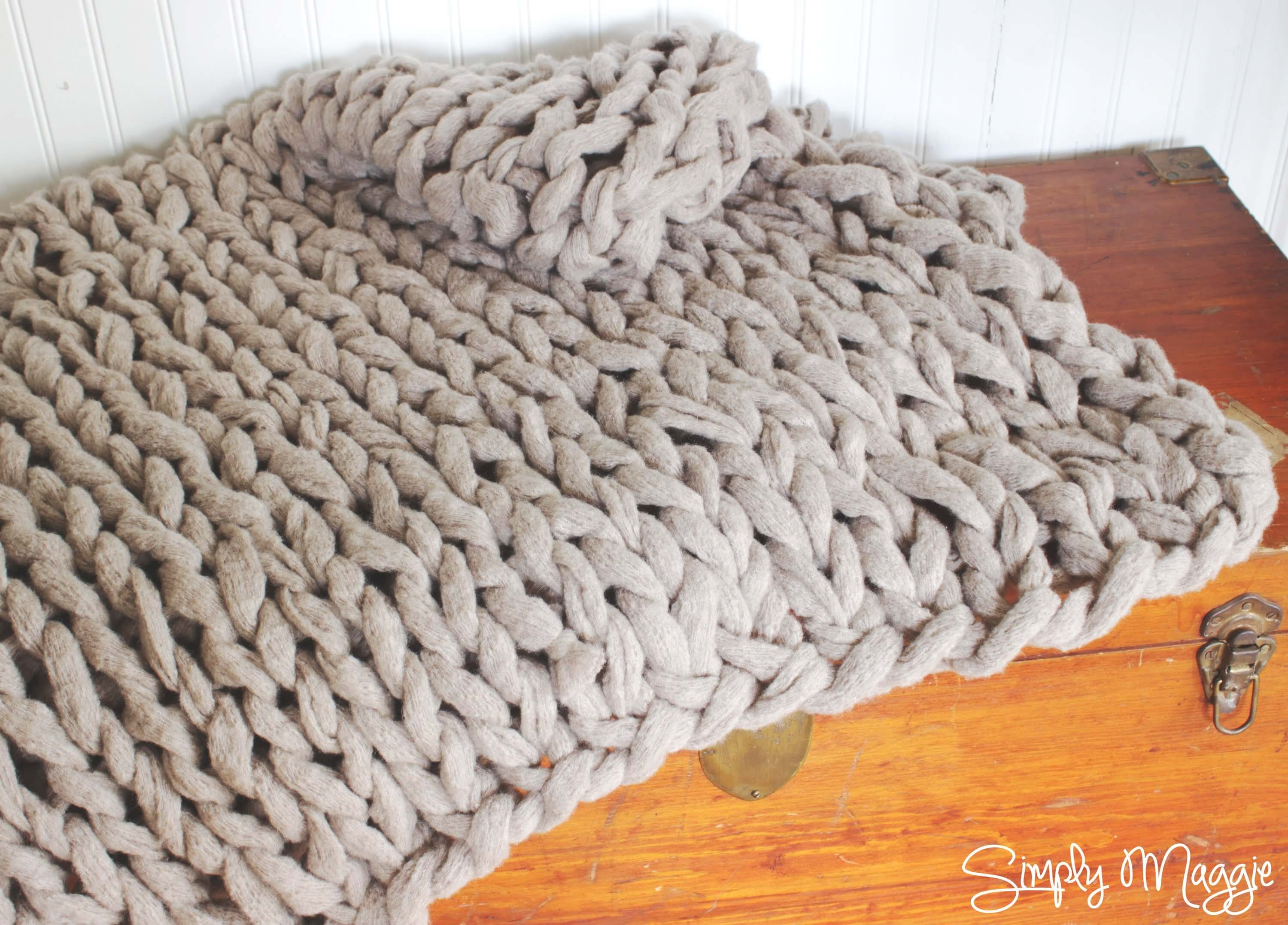 Easy Knit Blanket How To : Arm Knitting A Blanket - The Spinners Husband