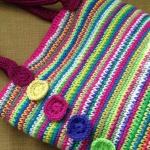 rainbow crochet tote bag