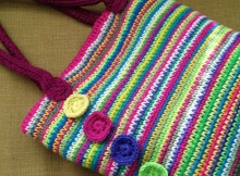 rainbow crochet tote bag