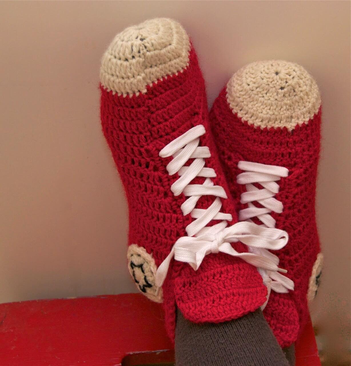 crochet converse slippers