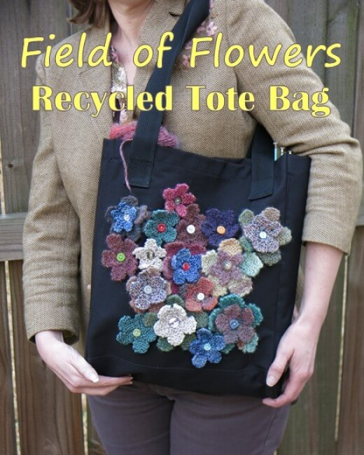 knit flower bag