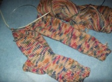 two needle knit socks