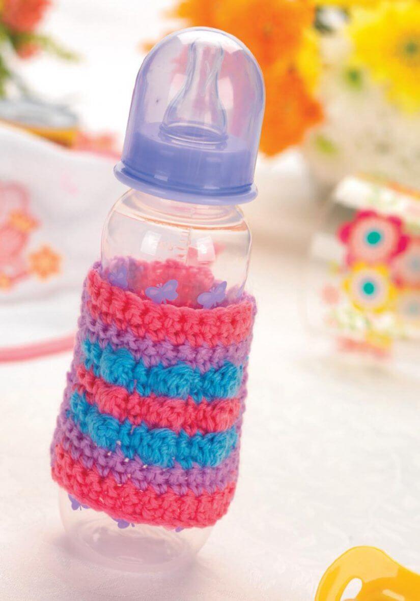 Free Crochet Baby Bottle cozy pattern