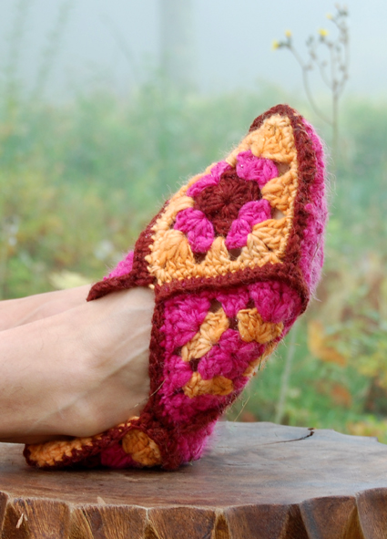 Free Crochet Granny Square Slipper Pattern