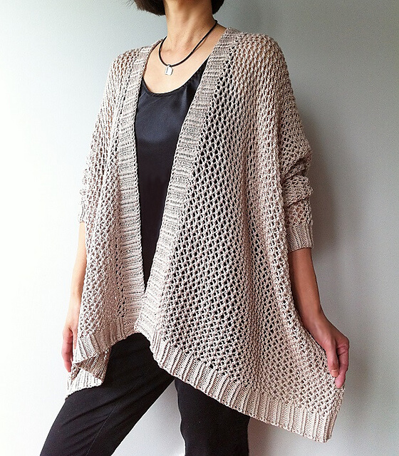 Knit cardigan-shawl pattern