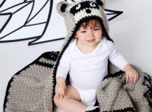 crochet raccoon blanket