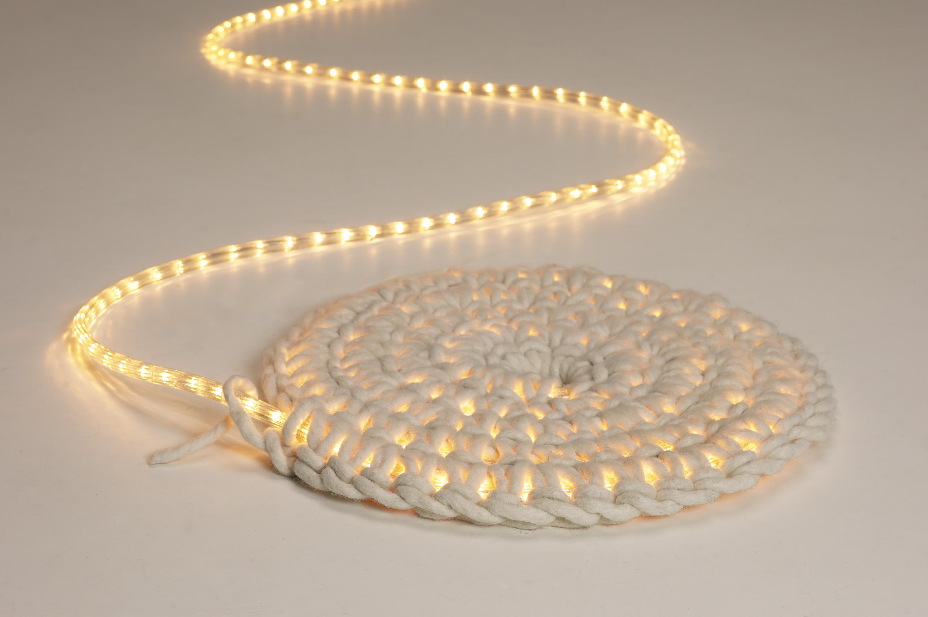 Crochet light mat or wall-hanging